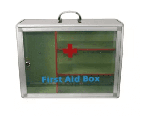 Empty first aid box with handle