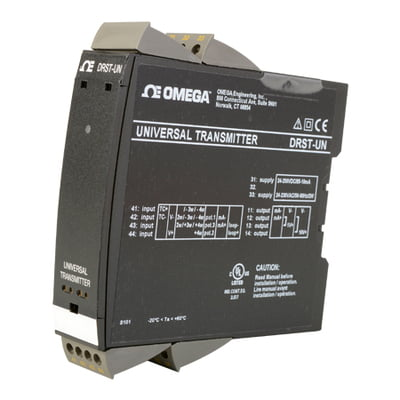 OMEGA, DRST-UN, Universal Programmable Signal Transmitter, DIN Rail compatible.