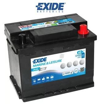 EXIDE, EP500, 12V, 60Ah, DUAL AGM LEISURE MARINE BATTERY